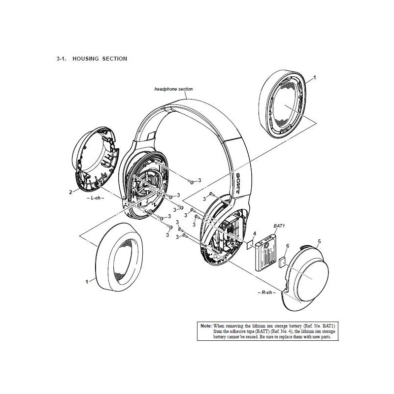 Mdr100abn Sony Headphone Exploded Diagram