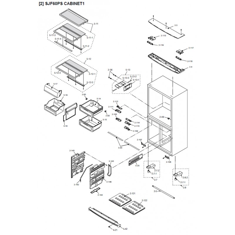 Sharp Refrigerator Exploded Diagram Sjf60ps  Sl    Sjf60ps  Wh