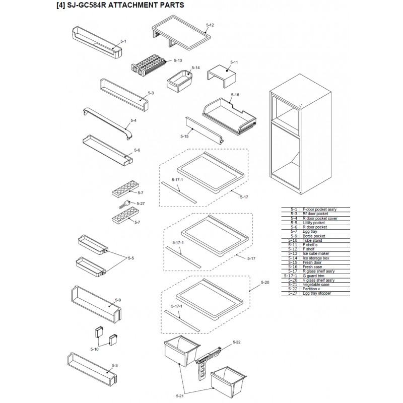 Sharp Refrigerator Exploded Diagram Sj Sl    Sj