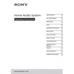Sony Audio Instruction Manual MHC-V72D / MHC-V82D