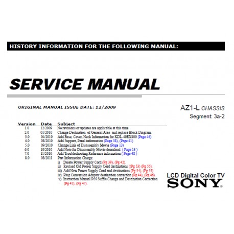 Sony KDL32EX400 TV Service Manual