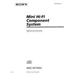 Sony Audio Instruction Manual MHC-W770AV