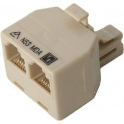 Modular RJ12 Plug to 2 Sockets