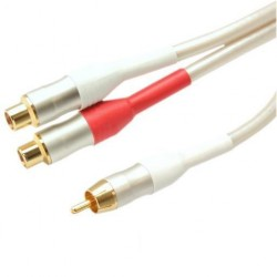 White Peal Series - 0.1m Audio RCA Plug To 2x RCA Sockets
