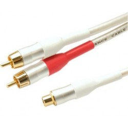White Peal Series - 0.1m Audio RCA Socket to 2x RCA Plugs