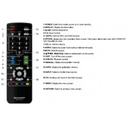 Sharp Television / Display Monitor GB244WJSA Remote