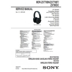 Sony MDR-ZX770BN / MDR-ZX770BT / MDR-ZX780DC Service Manual