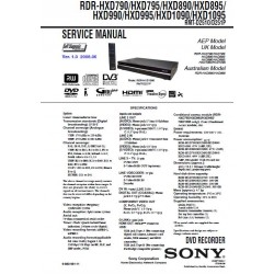 Sony RDR-HXD790 / RDR-HXD795 / RDR-HXD890 / RDR-HXD895 / RDR-HXD990 / RDR-HXD995 / RDR-HXD1090 / RDR-HXD1095 Service Manual
