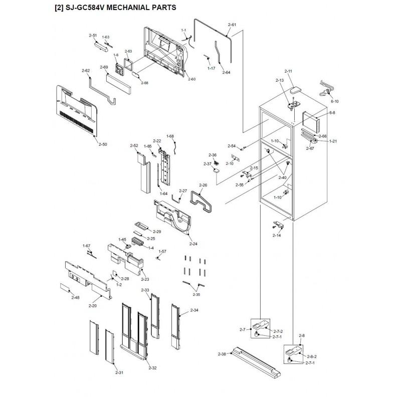 Diagram Sharp Refrigerator Exploded Diagram Sjgc584v Sl