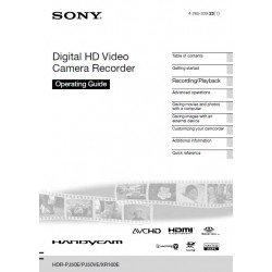 Sony Camera Instruction Manual HDRXR160E / HDRPJ50VE / HDRXR160E