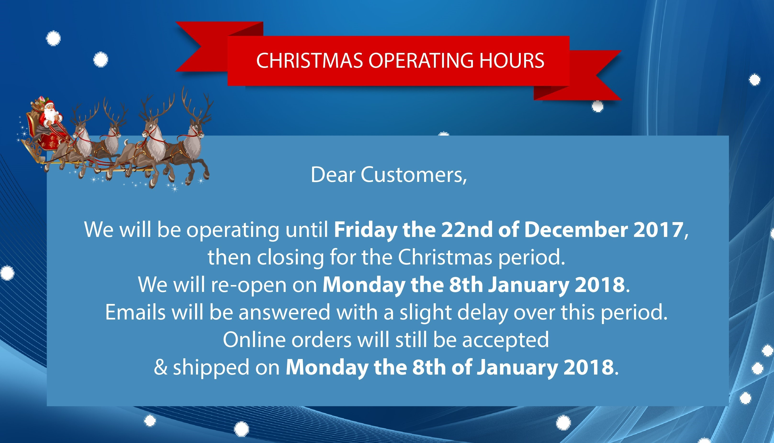 Christmas Operating Hours !